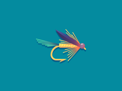 Kingfish Butcher (104/365) kingfisher daily design design series illustration kingfisher butcher rustic insect hook fishing fish fly fishing fly