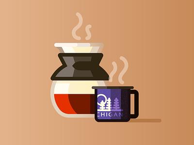 Coffee Set Up (136/365) design series daily design kitchen illustration line art bodum pour over brew steam mug cup coffee