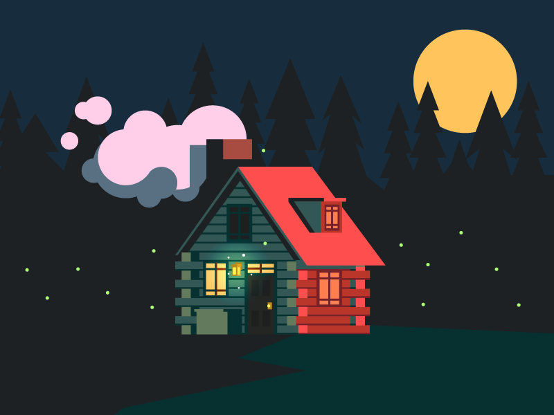 Cabin Home (146/365) sunset illustration woods smoke trees moon pines forrest house rustic home cabin