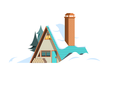 A Frame Home (147/365) roof logs architecture negative space winter snow chimney building house home cabin a frame