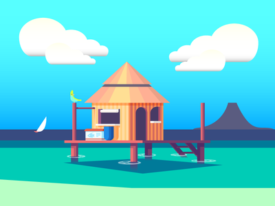 Stilt Home (149/365) design series daily design sailboat beach building home house stilt house hut tropical water