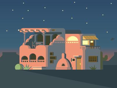 Pueblo Home (150/365) oven window ufo stars cactus plateau building home house pueblo desert