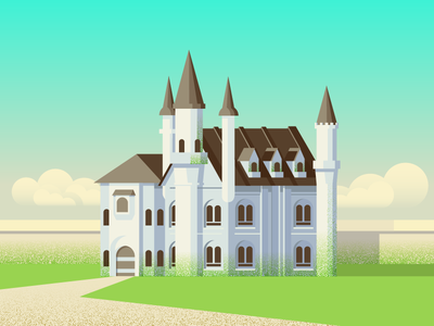 Mossy Castle Home (152/365) architecture design series illustration estate wall clouds towers tower building home moss castle