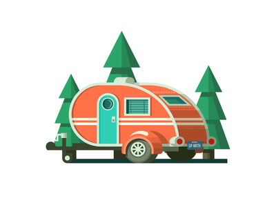 Teardrop Trailer (153/365) illustration teardrop teardrop trailer tires wheels roadtrip traveling rustic pines travel vacation trailer