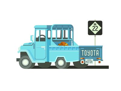 Toyota Land Cruiser Truck (156/365) illustration road sign blue pickup truck truck bed dog land cruiser road up north m22 toyota truck