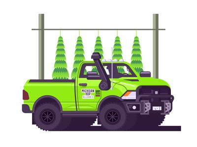 Michigan Hop Alliance Work Truck (157/365) traverse city michigan dat intake tho farm equipment illustration big truck ram 2500 ram beer hops green truck