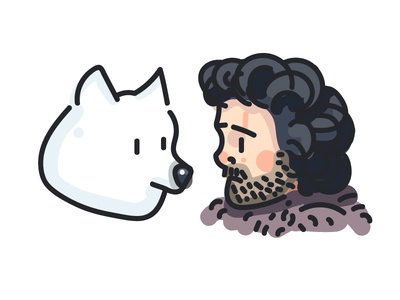 Jon Snow and Ghost (182/365) stark king of the north direwolf hbo tv show song of ice and fire fan art portrait game of thrones ghost jon snow