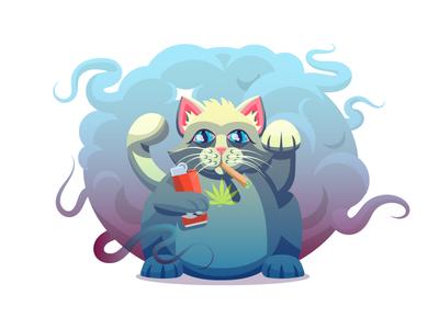 Catnip Lucky Cat (185/365) joint illustration weed lucky blunt lighter bic marijuana catnip kitty cat lucky cat