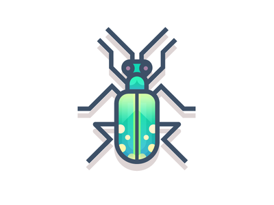 Six Spotted Green Tiger Beetle (191/365) six green tiger beetle spots beetle design series illustration tiger green insect bug