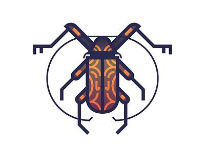 Harlequin Beetle (196/365) gradient harlequin design series illustration longhorn beetle insect bug