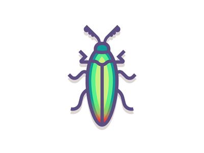 Jewel Beetle (197/365) jewel beetle spots beetle design series illustration jewel green insect bug