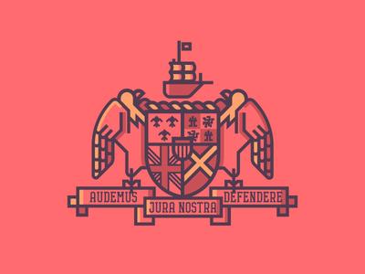 Alabama Crest (206/365) roll tide ship illustration line art badge flag state mi bald eagle crest alabama