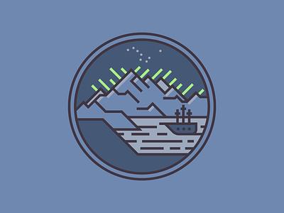 Alaska Crest (207/365) big dipper illustration line art badge flag state flag star northern lights mountains ship crest alaska