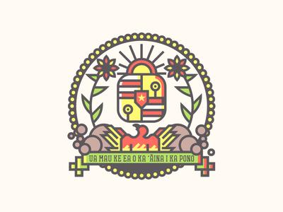 Hawaii Crest (216/365) tropical illustration line art badge flag state flag hi hawaiian smoke phoenix crest hawaii