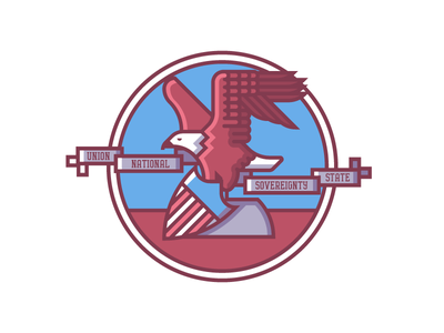 Illinois Crest (218/365) america illustration line art badge flag state flag il shield bald eagle crest illinois