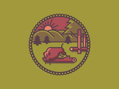 Indiana Crest (219/365) logs illustration line art badge flag state in forrest bison buffalo crest indiana