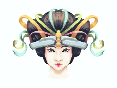 Geisha Illustration WIP (274/365) work in progress illustration photoshop woman ribbons digital painting symmetry portrait geisha