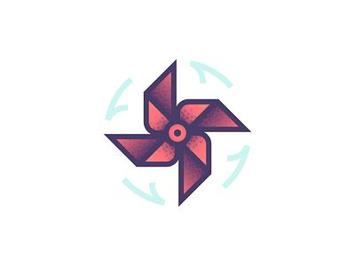 Wind (015/365) line art illustration gradient stippling symmetry spin breeze pinwheel wind