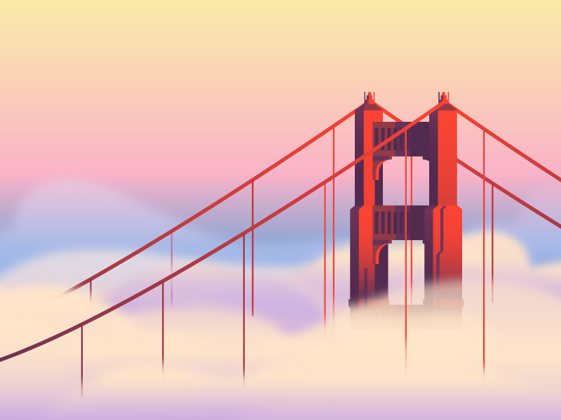 Fog (019/365) gaussian blur gradients foggy bridge golden gate sunrise sunset cloud mist fog