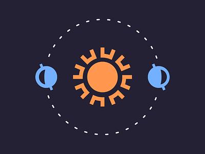 Solstice (024/365) line art dark light minimal simple icon planets space earth sun solstice
