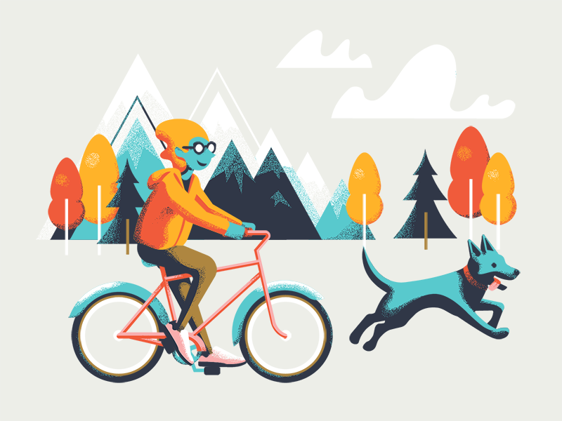 Joany and the Bike Ride bicycle clouds illustration texture trees bike ride dog bike mountains joany