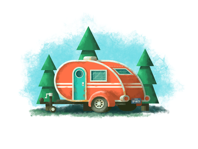 Design Revisit: Teardrop Trailer rusty red holiday rustic pine trees photoshop texture vacation teardrop camper trailer illustration