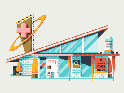 One Stop Shop sign brick station shop doctor medical illustration architecture mid century modern texture retro