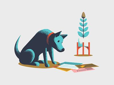 Get a Second Opinion paperwork doggo illustration plant puppy german shephard bills retro dog