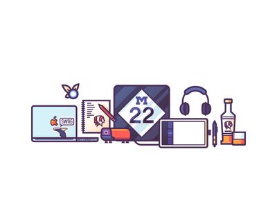 Personal Website Illustration WIP: About Section desk line art illustration road sign navi sketchbook headphones wacom tablet macbook pro whiskey m22