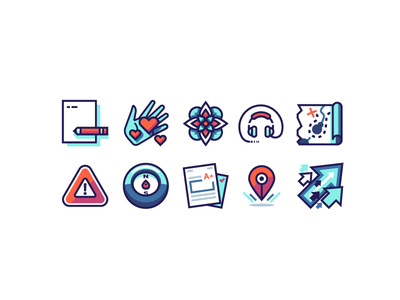 Levelup Icon Set learning education map pencil papers flower icon headphones arrows hand compass icons