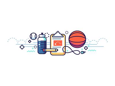 Be a Coach illustration education sport team coach water bottle clipboard whistle baseball basketball
