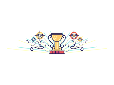 Thanks for Participating! sparkles cup gratitude celebrate trophy thanks fireworks award ui illustration