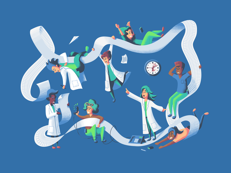 Hospital Chaos medicine medical office illustration characters people disorder chaos health hospital nurse doctor