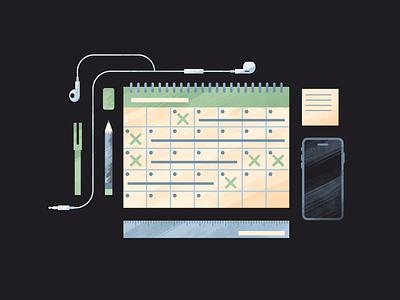 Take Time for Time Management advice freelancing time management iphone highlighter sticky note headphones supplies desk ruler eraser pencil calendar