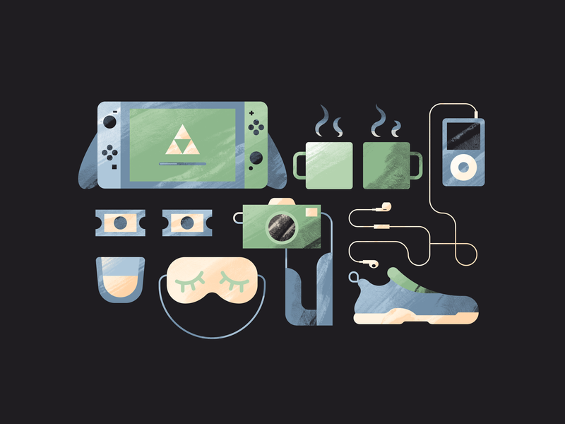 Take Care of Yourself camera advice texture illustration shoe shoes mask sleep whiskey switch nintendo switch tickets coffee headphones ipod running shoe
