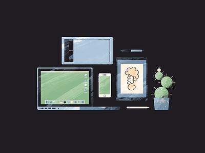 Designate a Workspace iphone game electronics devices work work space macbook pro macbook cactus stylus apple pencil apple ipad pro wacom tablet illustration
