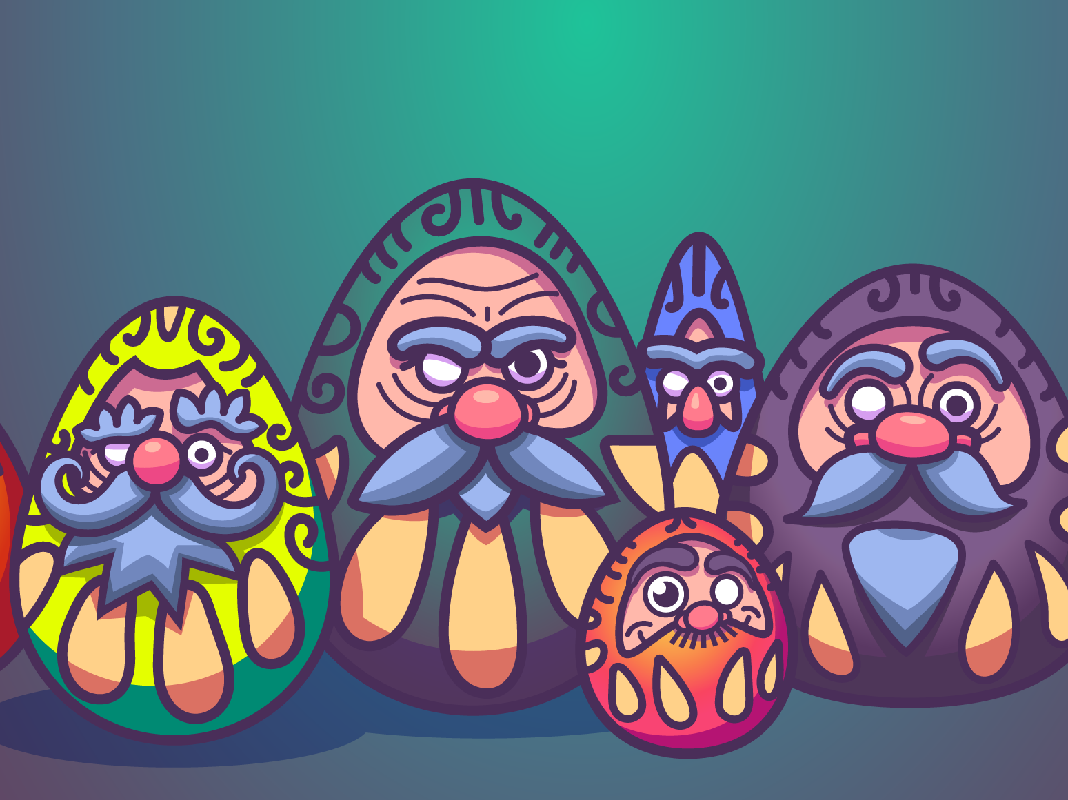 WIP: 404 Page for Personal Website gradients illustration eyebrows mustaches beards beard noses faces work in progress wip darumas daruma