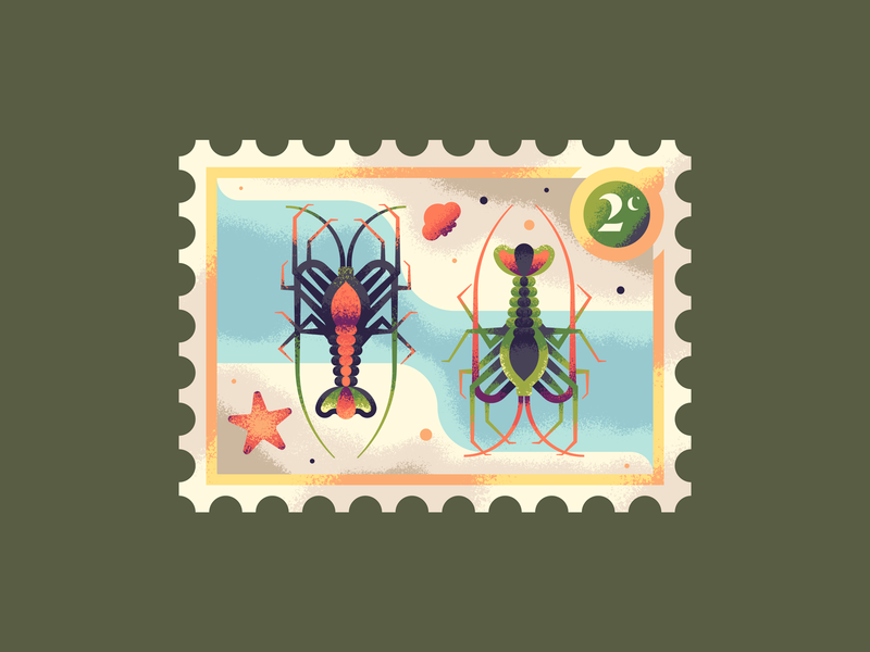 Two Rock Lobsters 12 days of christmas starfish rock lobster sea ocean illustration texture seafood lobsters lobster postage stamp