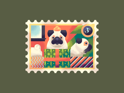 Three Fat Pugs postage stamp holiday gifts presents retro supply co texture puppy doggy dogs pugs pug christmas