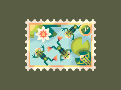 Four Swimming Frogs postage stamp 12 days of christmas christmas amphibian swimming water pond lilypad lily frogs frog