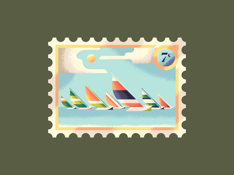 Seven Boats a-Sailing 12 days of christmas sailboat boats sails stamp postage stamp postage illustration texture water sailing sail boat