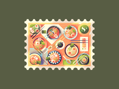 Eight Bowls of Ramen 12 days of christmas illustration retro supply textured table sushi soy sauce postage stamp asian noodles japan food eggs texture ramen