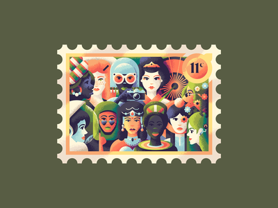 Eleven Mighty Women hippie cochlear inplant cowgirl astronaut hijab geisha african 12 days of christmas postage stamp characters people girl female woman women