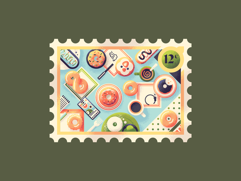 12 Yummy Doughnuts postage stamp retrosupplyco texture illustration food coffee donuts donut fattening pastry doughnut doughnuts