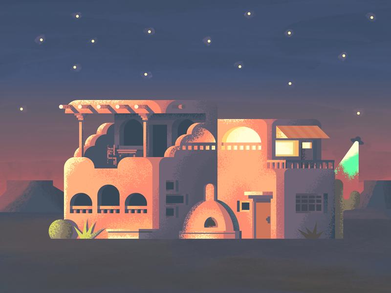 Pueblo Home Revisit: Texture desert ufo stars retro supply co illustration texture house illustration architecture structure house home building pueblo