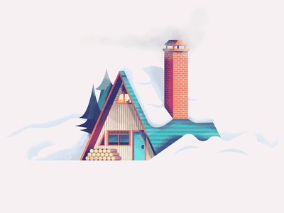 A Frame Cabin Revisit: Texture kyles brushes retro supply co texture illustration house illustration cozy winter snow pines rustic woodsmoke home house cottage cabin aframe