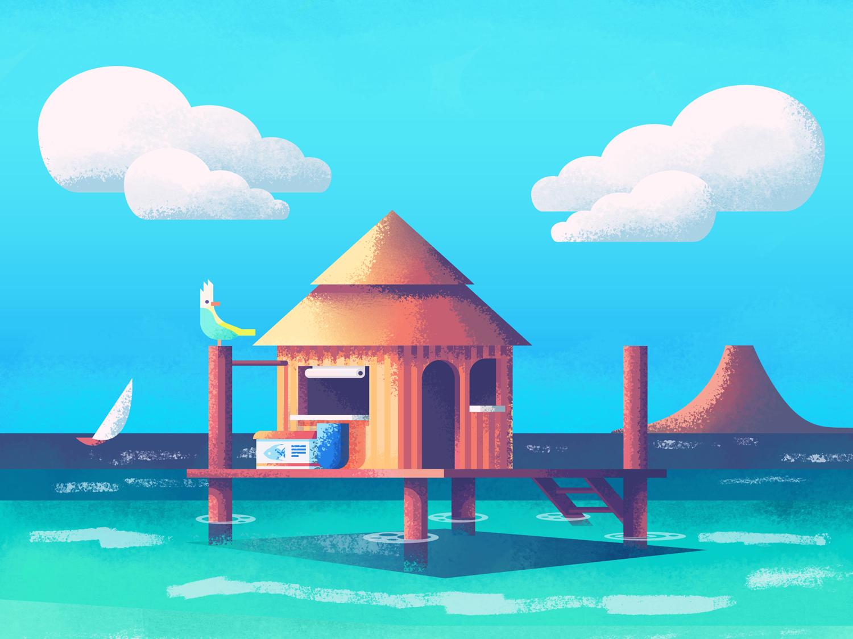 Tropical Pole House Revisit: Texture retrosupply texture ocean parrot beach building home house pole house tropical