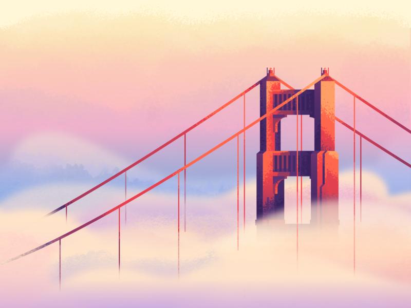 Fog Revisit: Texture retrosupplyco retrosupply foggy suspension bridge bridge sunset clouds illustration texture golden gate bridge fog