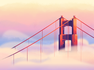 Fog Revisit: Texture retrosupplyco retrosupply foggy suspension bridge bridge sunset clouds illustration texture golden gate bridge fog