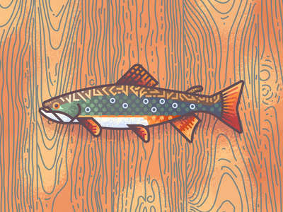 Brook Trout Revisit: Texture illustration retro supply texture wood brook trout brook fish trout